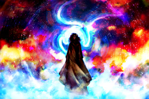Colorful Clouds Magic Man Illustration