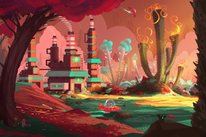 Colorful Factory Concept Art Spaceship Planet 5k