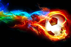 Colorful Football Flame Digital Art