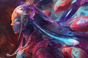 Colorful Girl Art Wallpaper