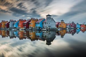 Colorful Hut Houses Reflection 5k
