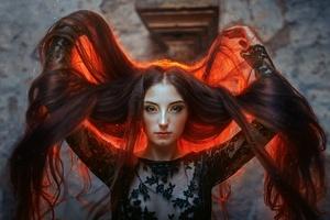Colorful Long Hair Women