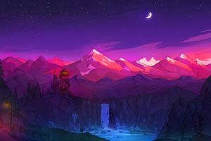 Colorful Mountains Night Minimal 8k Wallpaper