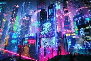 Colorful Neon City 4k