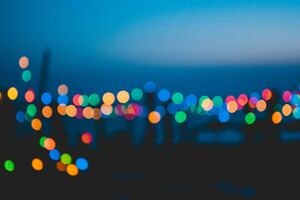 Colorful Night Lights Bokeh Effect