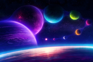 Colorful Planets Chill Scifi Pink 4k