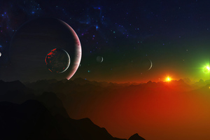 Colorful Scifi Space Digital Planets 4k Wallpaper