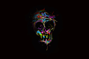 Colorful Skull Dark Art 4k