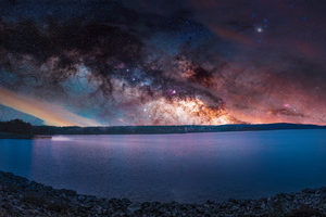 Colorful Sky Stars Landscape Sea