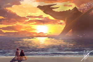 Colossal Dragon Beach Relaxing 5k Wallpaper