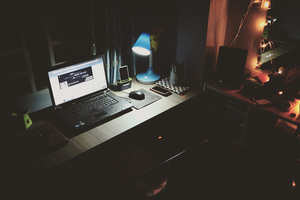 Computer Laptop Desk Light Lamp Dark Room Wallpaper