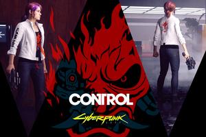 Control X Cyberpunk 2077 5k Wallpaper