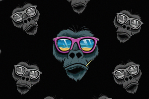 Cool Monkey Dark Minimal 4k Wallpaper