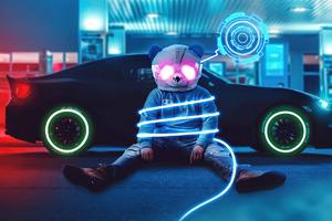 Cool Panda At Gas Station Neon 4k Wallpaper