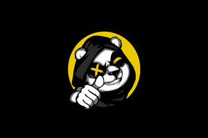 Cool Panda Thumb Up Minimal 4k Wallpaper
