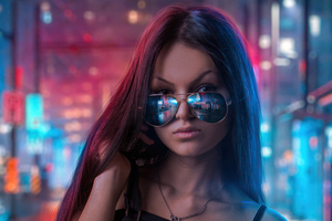 Cool Sunglasses Girl In Neon Lights Of City Wallpaper