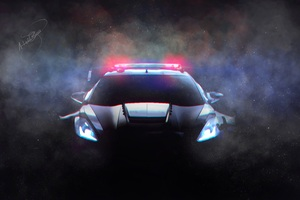 Corvette Police Car Fanart 10k Wallpaper