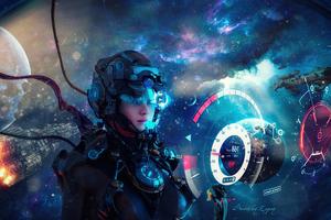 Cosmos Scifi Girl 5k Wallpaper