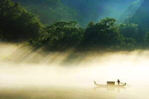 Country Side Fisherman Wallpaper