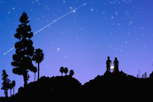Couple At Starrty Night Watching Stars And Meteorite 5k