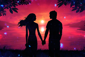 Couple Holding Hands Looking At Each Other Wallpaper