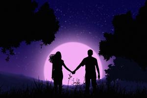 Couple Holding Hands Vector Art 4k Wallpaper