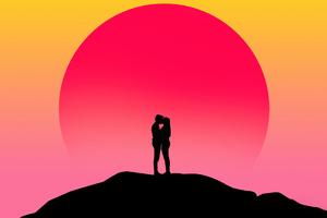 Couple Kissing Silhouette Digital Art 4k Wallpaper