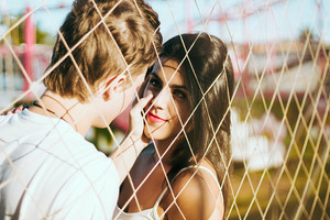 Couple Love At Fence