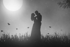 Couple Moon Meetup Wallpaper