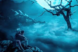 Couple Near Moon Tree Wallpaper