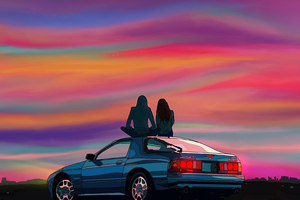 Couple Sitting On Car Evening Talks 4k