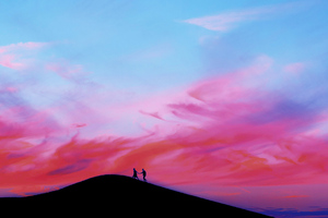 Couple Walking Over Moutain Wallpaper