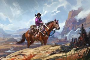 Cowboy On Horse Art Wallpaper