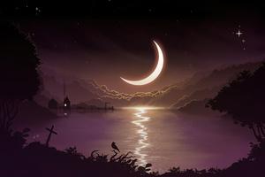 Crescent Moon Minimal Night 4k Wallpaper