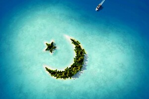 Crescent Moon Star Island Wallpaper