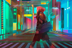 Crosswalk Night City Cyberpunk Wallpaper