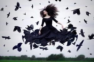 Crow Woman Photography Wallpaper
