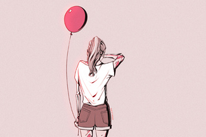 Crying Girl Sad With Balloon 4k Wallpaper
