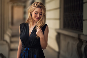 Curly Hair Blonde Girl Black Dress 4k Wallpaper