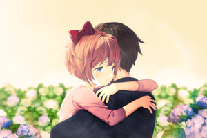 Cute Anime Couple Hug Wallpaper