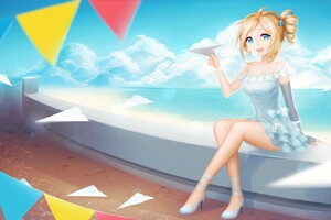 Cute Anime Girl Playing With Paper Planes Wallpaper