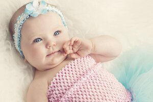 Cute Baby With Blue Eyes Wallpaper
