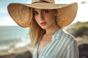 Cute Beautiful Girl With Hat
