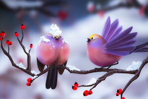 Cute Birds Artwork 4k Wallpaper