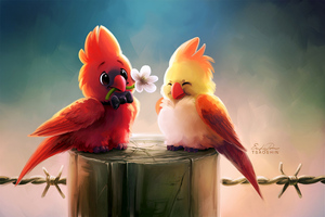 Cute Birds Romance 4k Wallpaper