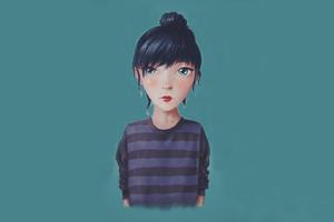 Cute Blue Eyes Artwork Wallpaper
