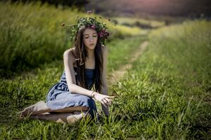 Cute Girl Butterfly Grass