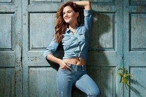 Cute Girl Denim Shirt Jeans 4k Wallpaper