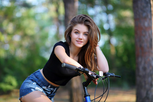 Cute Girl On Bicycle 4k Wallpaper