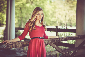 Cute Girl Red Dress Long Hair Wavy Hair Wallpaper